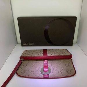 Oroton red taupe signature essentials wallet